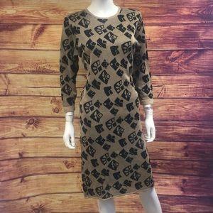 Pierre Balmain Vintage Tan Black Print Midi Dress